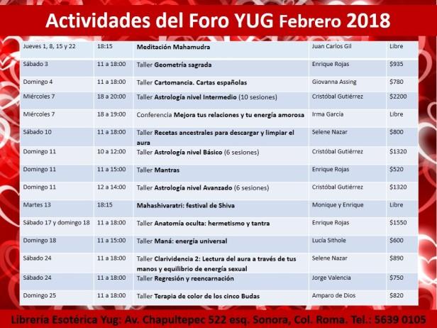 Actividades febrero 2018